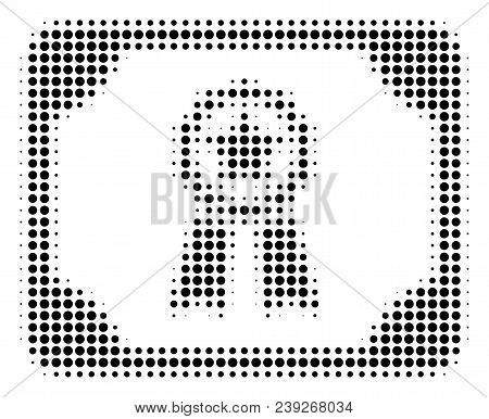 Pixelated Black Diploma Icon. Vector Halftone Pattern Of Diploma Icon Made Of Round Dots.