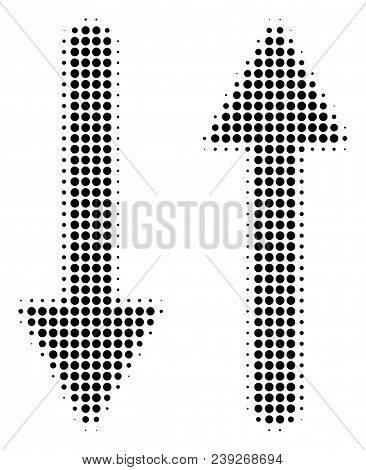 Dot Black Exchange Arrows Icon. Vector Halftone Composition Of Exchange Arrows Pictogram Formed With