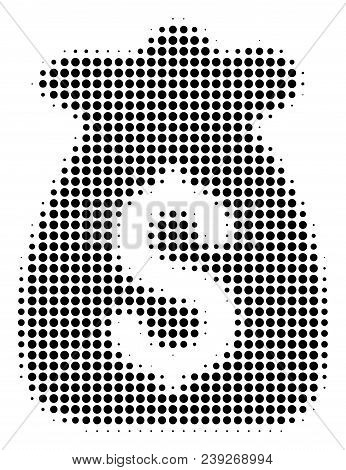 Dotted Black Financial Capital Icon. Vector Halftone Collage Of Financial Capital Symbol Composed Of