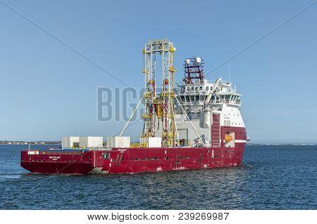 New Bedford, Massachusetts, Usa - April 26, 2018: Geotechnical Drilling Vessel Dina Polaris Heading