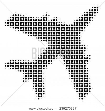 Dotted Black Jet Plane Icon. Vector Halftone Collage Of Jet Plane Icon Constructed From Circle Pixel