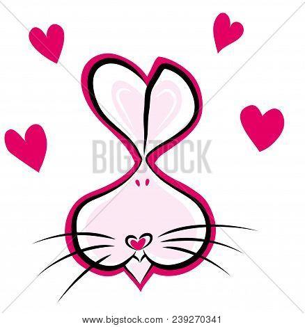 Lovely Bunny Head Symbolized With Hearts Rabbit Head Symbolized With Hearts