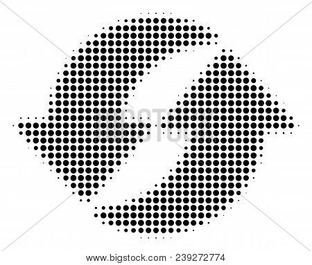Pixel Black Refresh Icon. Vector Halftone Concept Of Refresh Symbol Made Of Round Items.