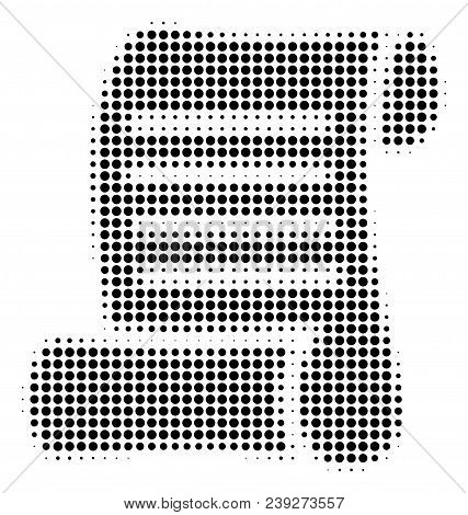 Dot Black Script Roll Icon. Vector Halftone Mosaic Of Script Roll Pictogram Created From Round Dots.