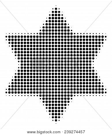 Dot Black Six Pointed Star Icon. Vector Halftone Pattern Of Six Pointed Star Pictogram Combined From