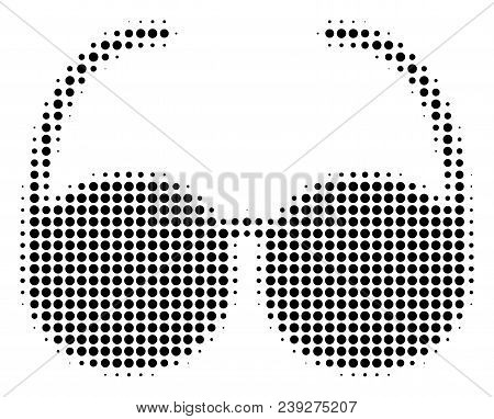 Dotted Black Spectacles Icon. Vector Halftone Pattern Of Spectacles Symbol Created With Round Pixels