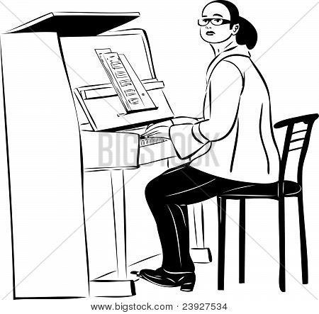 sketch of a woman pianist in glasses
