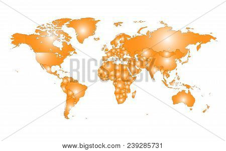 Colored Vector World Map Illustration Isolated Over White Background. Flat Globe, Earth Template. Wo