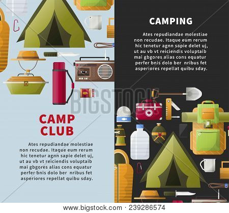 Camp Club Or Camping Adventure Posters Of Scout Tools And Hiking Accessories. Vector Flat Design Of