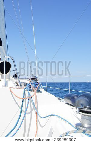 Front Deck Of Boat Deck And Railing Sailboat Detailed Parts