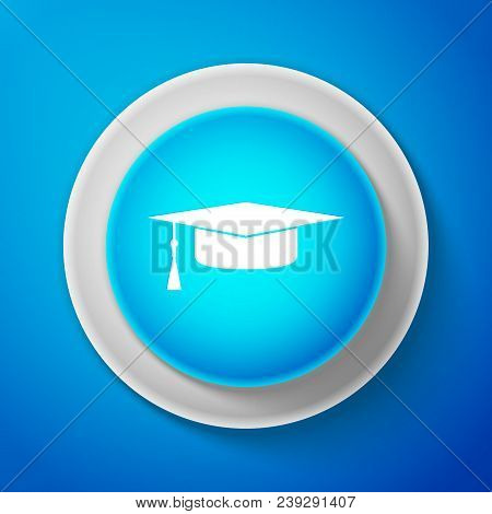 White Graduation Cap Icon Isolated On Blue Background. Graduation Hat With Tassel Icon. Circle Blue