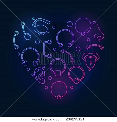 Colorful Heart Shape Made Of Body Jewelry And Piercing Creative Thin Line Icons On Dark Background