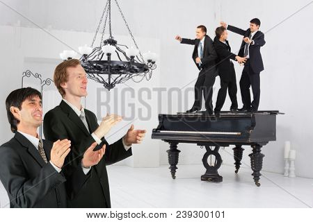 Collage with two businessmen applaud three men dancing on piano in bright room with vintage chandelier