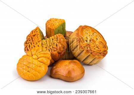 Variety Of Mooncakes For Chinese Mid-autumn Festival Celebration Isolated In White Background