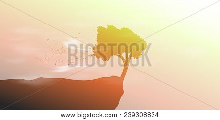 Landscape With Single Tree On A Precipice In The Wind. Vector Illustration