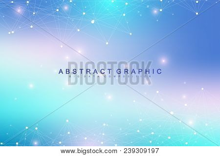 Geometric Graphic Background Molecule And Communication. Big Data Complex With Compounds. Perspectiv