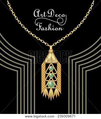 Luxury Art Deco Filigree Pendant, Jewel With Green Emerald On Golden Chain , Antique Elegant Gold Je