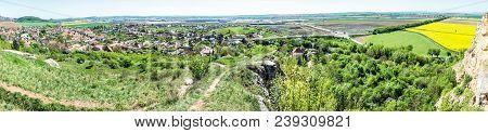 Drazovce Village And Industrial Park Nitra - North, Slovak Republic. Springtime Panoramic Scene. Lan