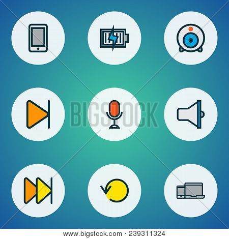 Multimedia Icons Colored Line Set With End, Smartphone, Loudspeaker And Other Cellphone Elements. Is