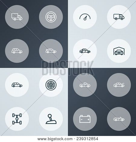 Automobile Icons Line Style Set With Sports Auto, Crossover, Truck And Other Sedan Elements. Isolate