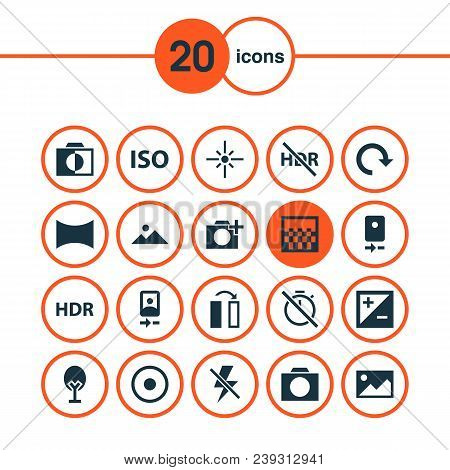 Image Icons Set With Hdr, Smartphone, Adjust And Other No Timer Elements. Isolated  Illustration Ima