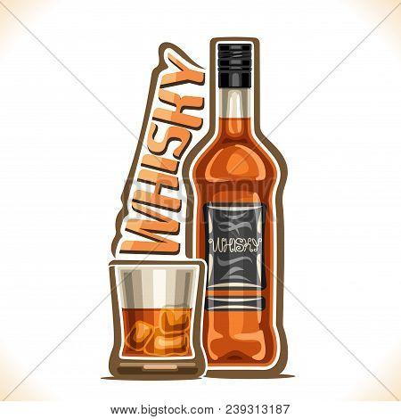 Vector Illustration Of Alcohol Drink Whisky, Old Brown Bottle Of Premium Scottish Booze, Half Full T