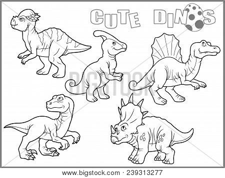 Set Of Cartoon Cute Images, Funny Dinosaurs