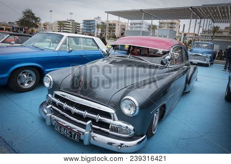 Calafell, Spain, May 2018: Chevrolet Classic Car In Riverside Car Show. This Is An Classic American