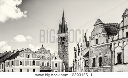 Church Of The Holy Spirit And Famous 16th-century Houses In Telc, Czech Republic. Architectural Scen