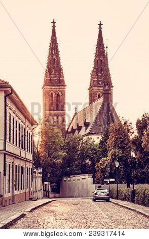 Beautiful Basilica Of Saint Peter And Saint Paul, Vysehrad, Prague, Czech Republic. Sunset Photo. Re
