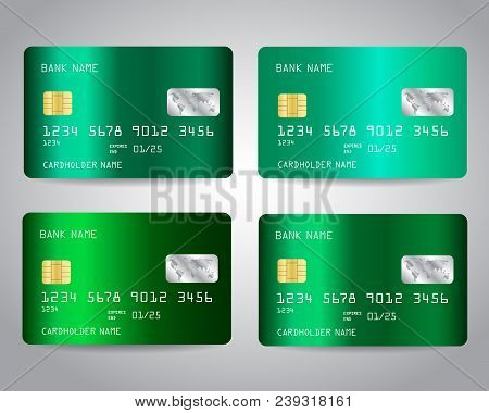 Realistic detailed vector photo free trial bigstock realistic detailed credit cards set with emerald green abstract metallic gradinet design background reheart Gallery