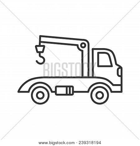 Tow Truck Linear Icon. Evacuator. Thin Line Illustration. Car Wrecker. Contour Symbol. Vector Isolat