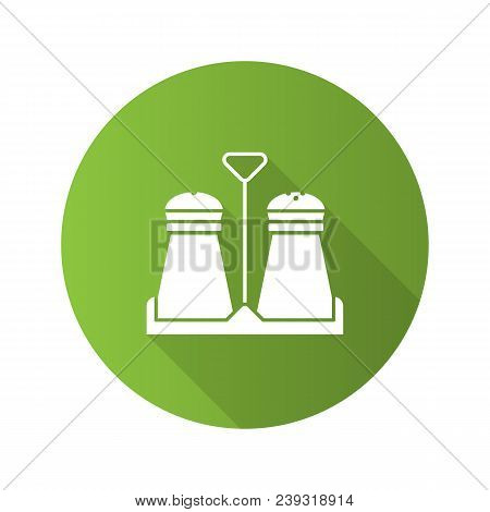 Salt Or Pepper Shaker Flat Design Long Shadow Glyph Icon. Spice. Vector Silhouette Illustration