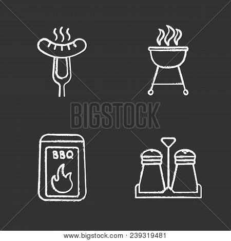 Barbecue Chalk Icons Set. Coal, Salt And Pepper Shakers, Grilled Sausage On Carving Fork, Kettle Gri