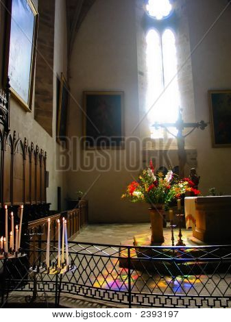 Interior of a French church with