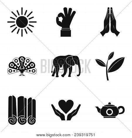 Yoga Lesson Icons Set. Simple Set Of 9 Yoga Lesson Vector Icons For Web Isolated On White Background
