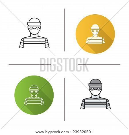 Robber Icon. Flat Design, Linear And Color Styles. Thief. Housebreaker. Isolated Vector Illustration