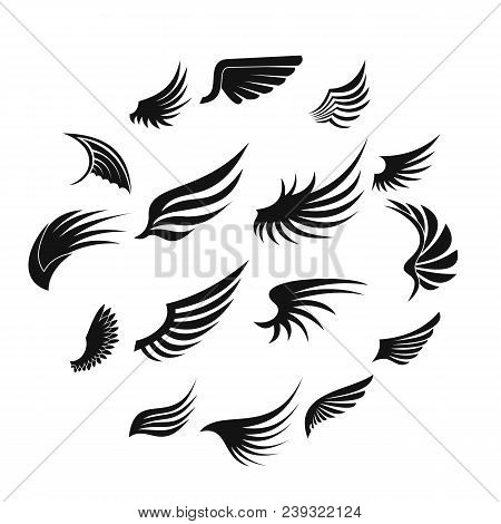 Wing Icons Set In Simple Ctyle. Birds And Angel Wings Set Collection Vector Illustration