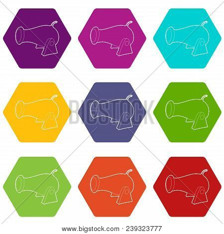 Cannon Icons 9 Set Coloful Isolated On White For Web