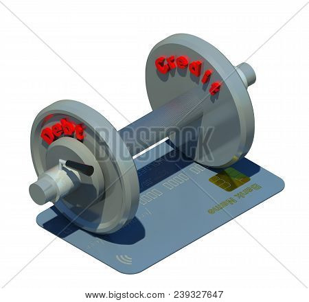 Fitness Dumb-bell For Shopping Maniacs 3d Illustration 2. Heavy Metal Dumb-bell And Gray Textured Cr