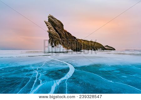 Frozen Winter Baikal Lake Siberia Russia, Natural Landscape Background