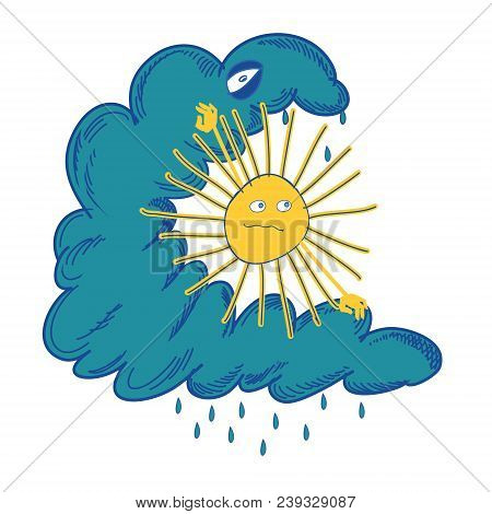 Sun Struggling With The Black Cloud. Funny Color Vector Illustration Handmade