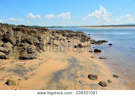 Beach Where Captain James Cook First Landed In Queensland, Australia In 1770.