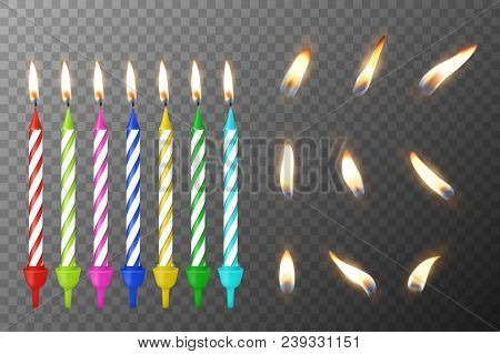 Vector 3d Realistic Different Birthday Party Colofful Wax Paraffin Burning Cake Candle And Different