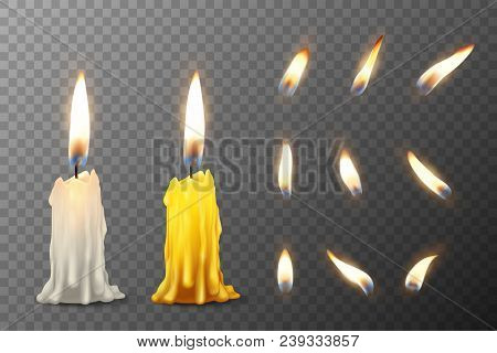 Vector 3d Realistic White And Orange Paraffin Or Wax Burning Party Candle Or Candle Stump And Differ