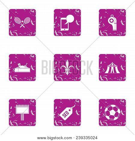 Gymnasium Icons Set. Grunge Set Of 9 Gymnasium Vector Icons For Web Isolated On White Background