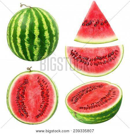 Isolated Watermelons. Collection Of Whole And Cut Watermelon Fruits Isolated On White Background Wit