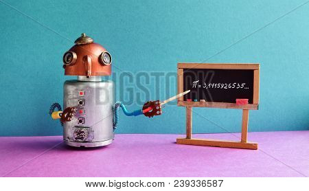 Math Lesson. Robot Professor Explains Pi Mathematical Constant Irrational Number 3.1415926535. Frien
