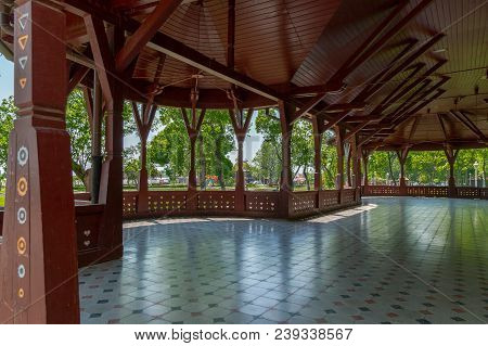 Palic, Serbia - April 28, 2018: Terrace Of Grand Terrace Building Built In 1912 On The Shores Of Pal