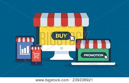 Set Of Online Storefront, Computer, Laptop, Smartphone, Tablet Device With Promotion, Buy Button Gra
